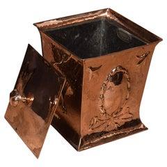 Arts & Crafts Copper Coal Bin