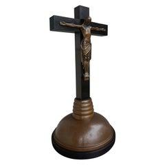 Arts & Crafts Ebonized Wood & Brass Base Crucifix with a Bronze Corpus of Christ