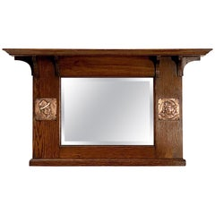 Arts and Crafts Era Beveled Overmantle Mirror with Oak Frame