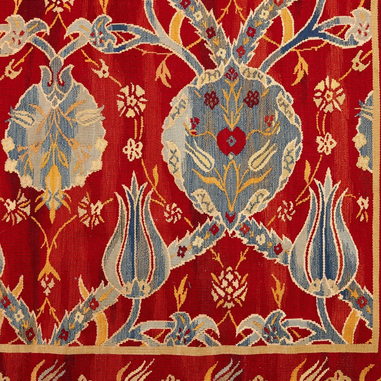 Arts and Crafts Arts & Crafts Floral Red Art Needlework Panel For Sale