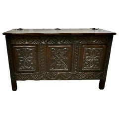 Arts & Crafts Gothic Carved Oak Coffer