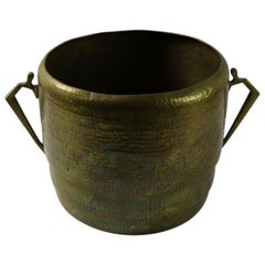 Arts and Crafts Hammered Brass Bucket Pail Planter Jardinière