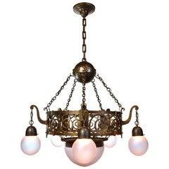 Arts & Crafts Hammered Bronze and Brass Chandelier
