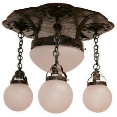 Arts and Crafts Hand Wrought Steel Flush Mount Light Fixture, circa 1920