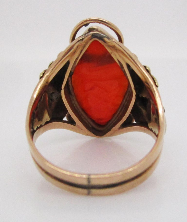 Arts & Crafts Handmade 14 Karat Yellow Gold Carnelian Ring with Grape Leaf Motif For Sale 2