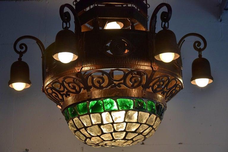 Arts & Crafts Jugendstil Austrian Glass and Brass Ceiling Lamp For Sale 5
