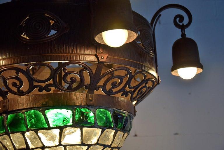 Arts & Crafts Jugendstil Austrian Glass and Brass Ceiling Lamp For Sale 6
