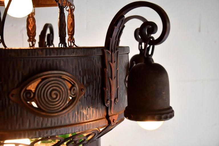 Arts & Crafts Jugendstil Austrian Glass and Brass Ceiling Lamp For Sale 7
