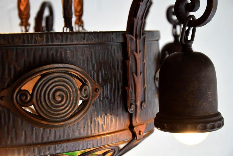 Arts & Crafts Jugendstil Austrian Glass and Brass Ceiling Lamp For Sale 8