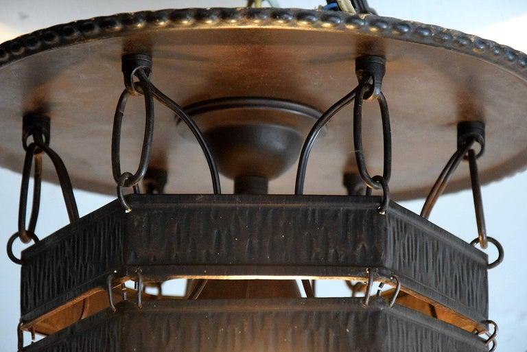 Arts & Crafts Jugendstil Austrian Glass and Brass Ceiling Lamp For Sale 9
