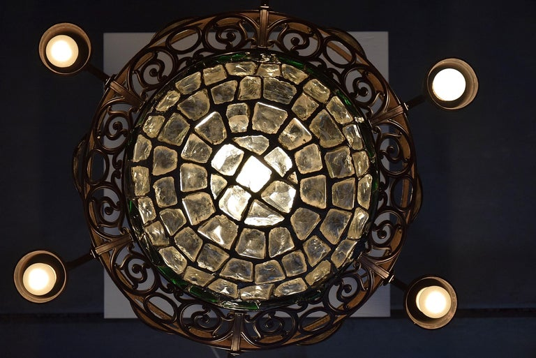 Arts & Crafts Jugendstil Austrian Glass and Brass Ceiling Lamp In Good Condition For Sale In Weesp, NL