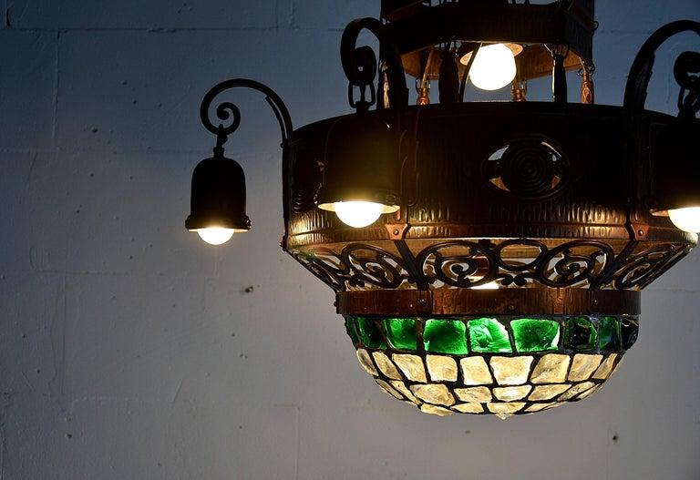 Metal Arts & Crafts Jugendstil Austrian Glass and Brass Ceiling Lamp For Sale