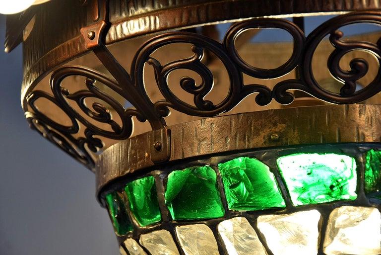 Arts & Crafts Jugendstil Austrian Glass and Brass Ceiling Lamp For Sale 1