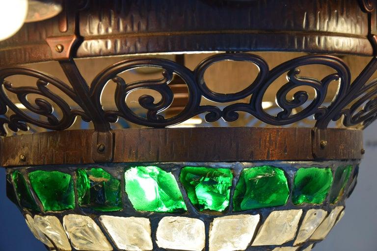 Arts & Crafts Jugendstil Austrian Glass and Brass Ceiling Lamp For Sale 2