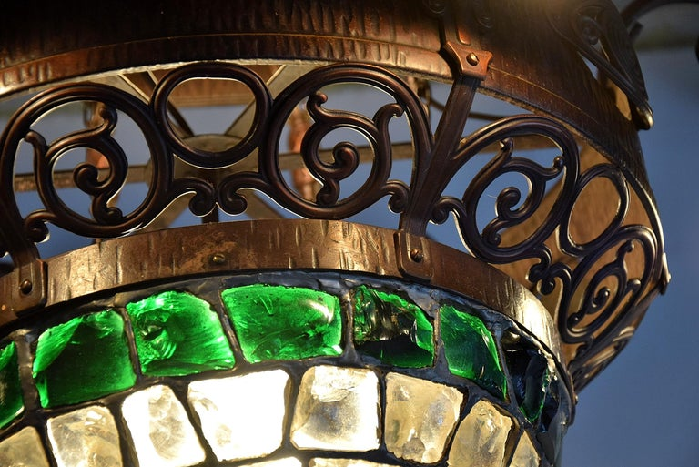 Arts & Crafts Jugendstil Austrian Glass and Brass Ceiling Lamp For Sale 3