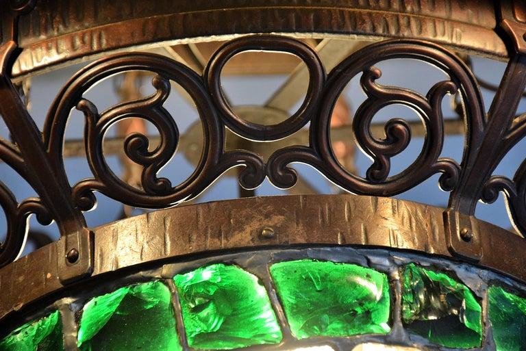 Arts & Crafts Jugendstil Austrian Glass and Brass Ceiling Lamp For Sale 4