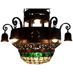 Arts & Crafts Jugendstil Austrian Glass and Brass Ceiling Lamp