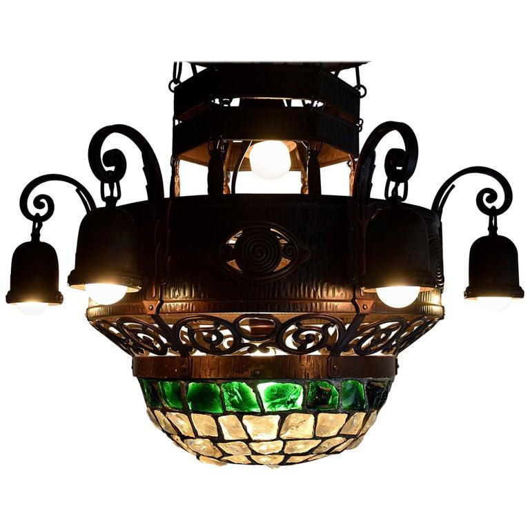 Arts & Crafts Jugendstil Austrian Glass and Brass Ceiling Lamp For Sale