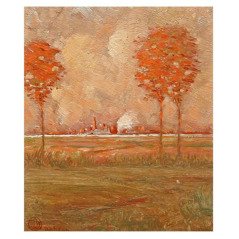 Arts & Crafts Landscape Oil Painting For Sale