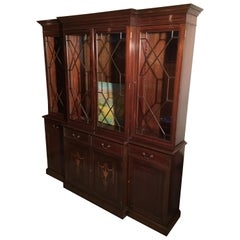 Arts & Crafts Mahogany Glass Display Cabinet with Beautiful Inlays