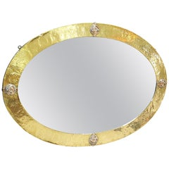 Arts & Crafts Movement Brass Mirror with Copper Inserts