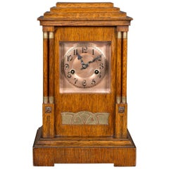 Arts & Crafts Oak Cased Mantel Clock with Copper Dial