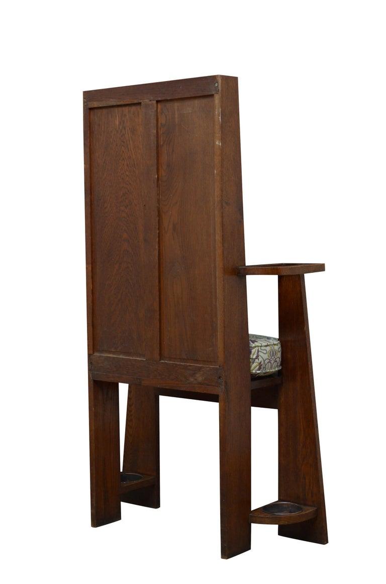 Arts & Crafts Oak Hall Seat For Sale 6