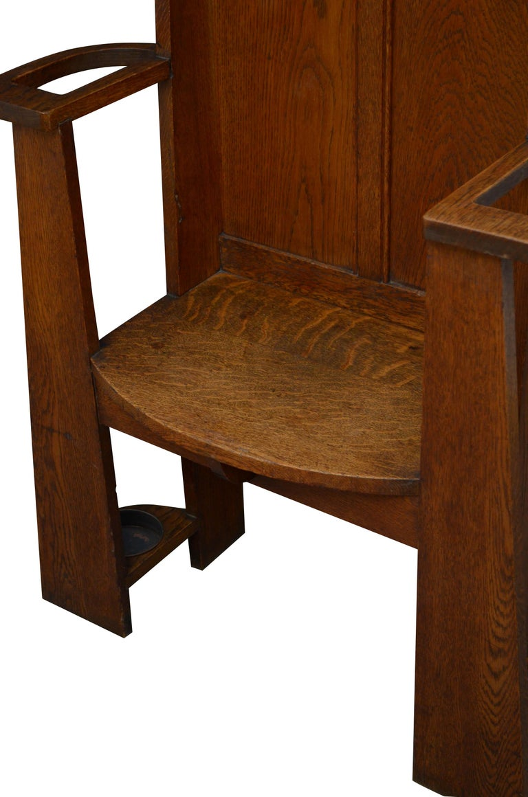 Early 20th Century Arts & Crafts Oak Hall Seat For Sale