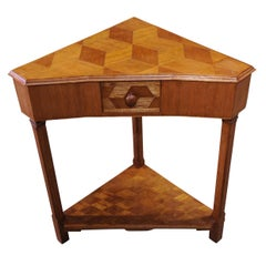 Arts and Crafts Oak Parquetry Side Table With Single Drawer on Columnar Base.