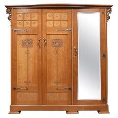 Arts and Crafts Oak Three Door Wardrobe