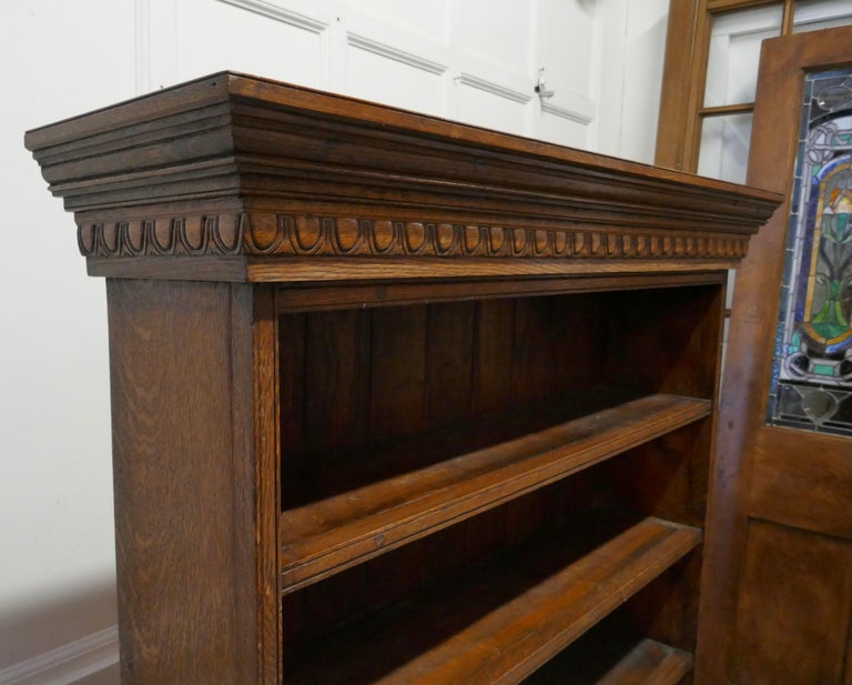 Arts and Crafts Open Oak Bookcase with Secret Compartment In Good Condition For Sale In Chillerton, Isle of Wight