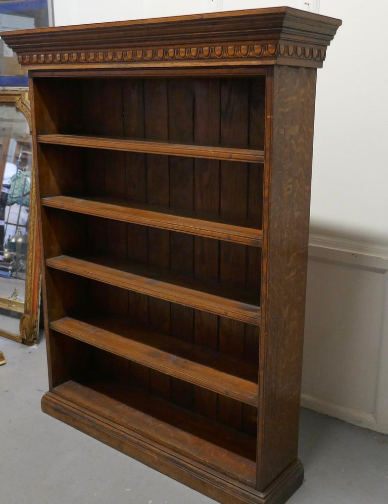 19th Century Arts and Crafts Open Oak Bookcase with Secret Compartment For Sale