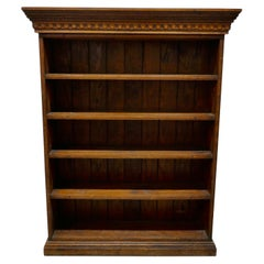 Arts and Crafts Open Oak Bookcase with Secret Compartment