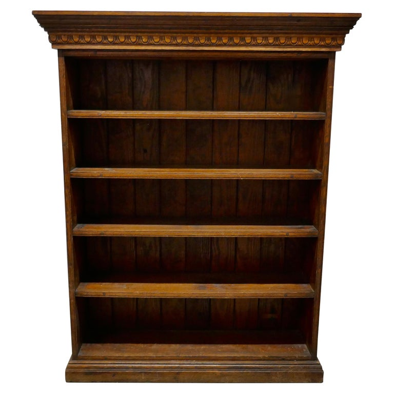 Arts and Crafts Open Oak Bookcase with Secret Compartment For Sale