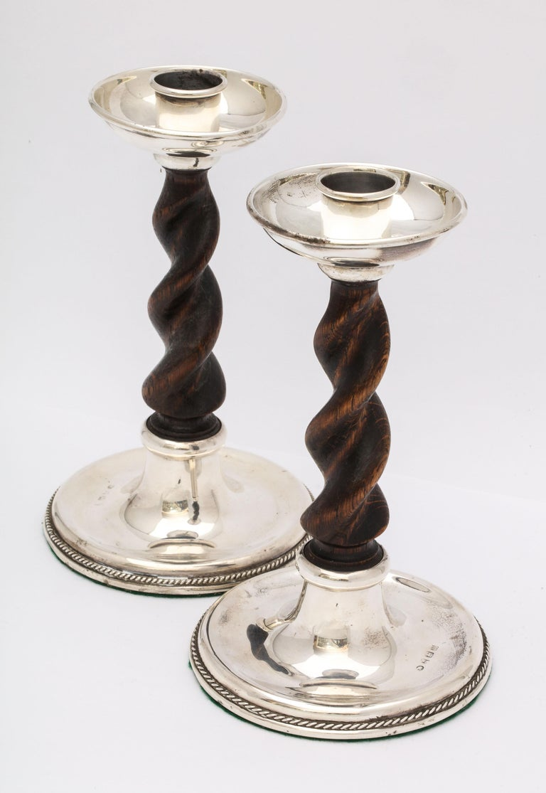 Arts & Crafts Pair of Sterling Silver-Mounted Wood Barley Twist Candlesticks For Sale 4
