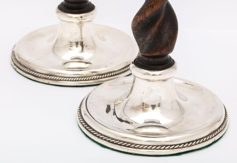 Early 20th Century Arts & Crafts Pair of Sterling Silver-Mounted Wood Barley Twist Candlesticks For Sale