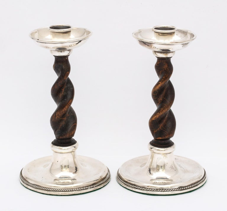 Arts & Crafts Pair of Sterling Silver-Mounted Wood Barley Twist Candlesticks For Sale 1