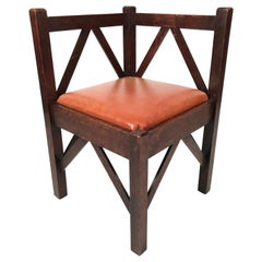 Arts & Crafts Period Oak Corner Chair