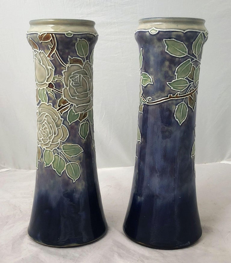 Arts and Crafts Pair of Royal Doulton Vases from the Arts & Crafts Period, 'Priced as a Pair' For Sale
