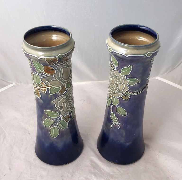 Glazed Pair of Royal Doulton Vases from the Arts & Crafts Period, 'Priced as a Pair' For Sale