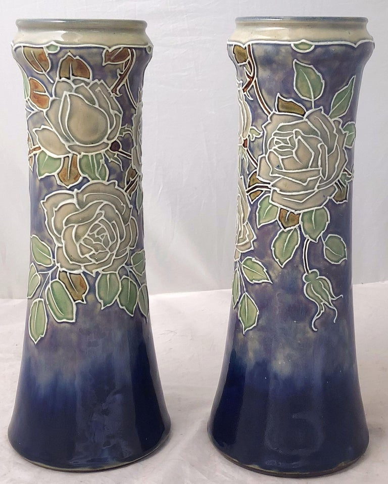 20th Century Pair of Royal Doulton Vases from the Arts & Crafts Period, 'Priced as a Pair' For Sale