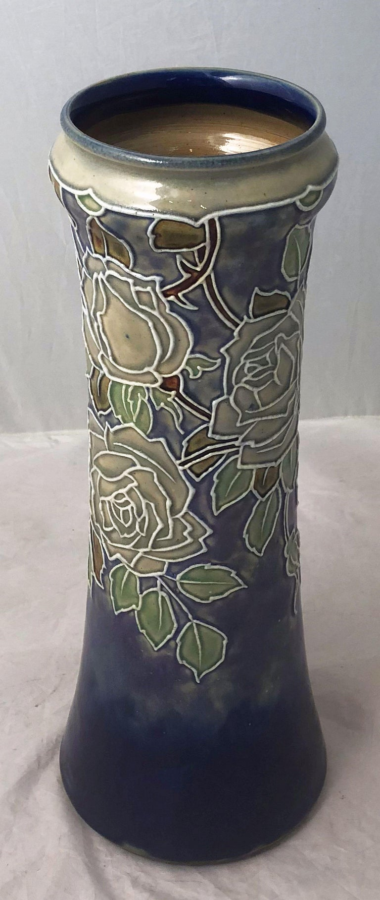 Ceramic Pair of Royal Doulton Vases from the Arts & Crafts Period, 'Priced as a Pair' For Sale