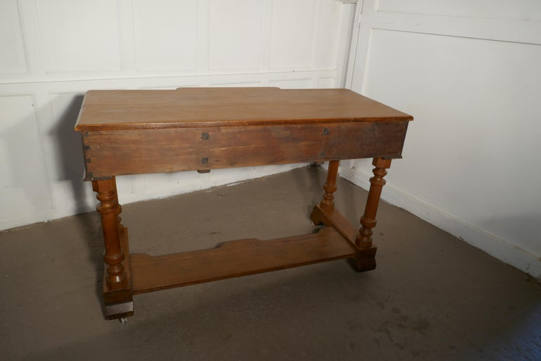 19th Century Arts & Crafts Pitch Pine Writing Table For Sale