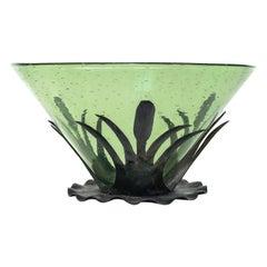 Arts and Crafts Pomona Green Steuben Bowl Centerpiece