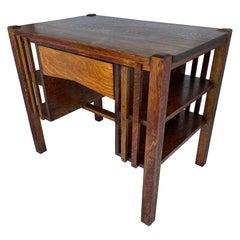 Arts & Crafts Quartersawn Mission Oak Desk, Circa Early 1900's