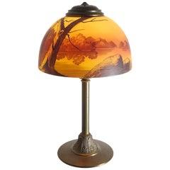 Arts & Crafts Reverse Painted Desk Lamp