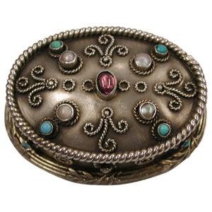 Arts & Crafts Silver Gilt Brittania Standard Box set with Precious Stones, 1910
