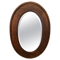 Arts and Crafts Solid Oak Oval Mirror