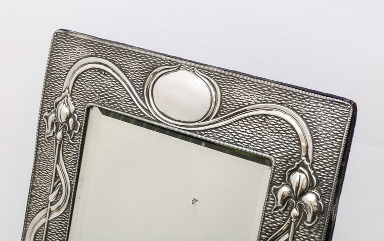 Arts & Crafts Sterling Silver-Mounted Table Mirror, by A. & J. Zimmerman For Sale 5