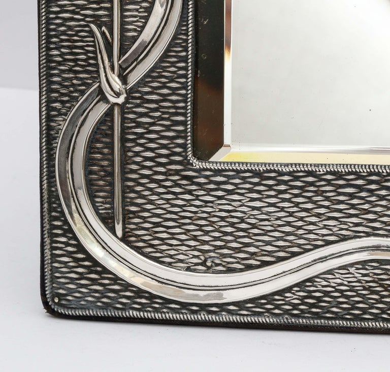 English Arts & Crafts Sterling Silver-Mounted Table Mirror, by A. & J. Zimmerman For Sale